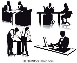 trabalhando, em, escritório