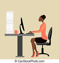 trabalhando escritório, executiva, laptop, trabalhador, americano, computador, africano, ou