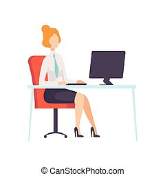 trabalhando escritório, executiva, personagem, ilustração, vetorial, computador, empregado