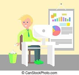 trabalhando escritório, ilustração, alegre, vetorial, homem
