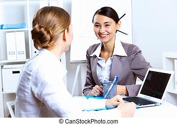 trabalhando escritório, jovem, desgaste negócio, mulheres