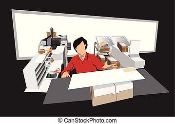 trabalhando escritório, lugar, poste, caricatura, pessoal