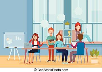 trabalhando, escritório negócio, pessoas, trabalhadores, junto, trabalho equipe