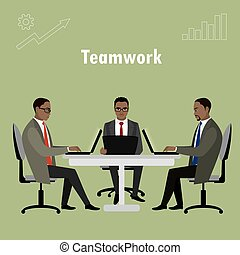 trabalhando escritório, pessoas negócio, laptop, sentando, ou, americano, africano, tabela., trabalhadores