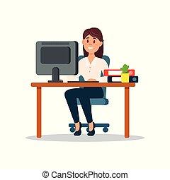 trabalhando escritório, sentando, executiva, personagem, negócio ilustração, vetorial, computador, escrivaninha, sorrindo, caricatura