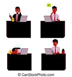 trabalhando escritório, sentando, laptop, pretas, escrivaninha, americano, africano, homem negócios