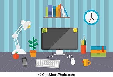 trabalhando, espaço, em, escritório