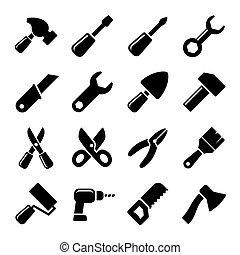 trabalhando, ferramentas, ícone, jogo