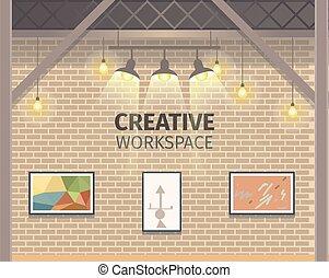 trabalhando, freelance, modernos, criativo, estúdio, bandeira