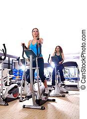 trabalhando, ginásio, girar, bicicletas, mulheres, saída