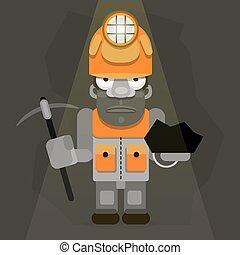 trabalhando, golpear, mineiro, ilustração, carvão, retro, fundo