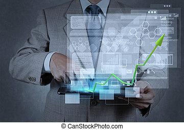 trabalhando, homem negócios, modernos, mão, tecnologia
