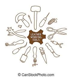 trabalhando, ilustração, ferramentas, vetorial, couro, mão, ...