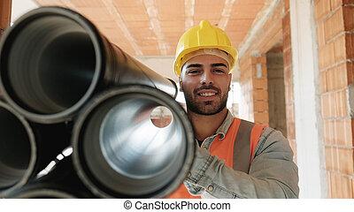 trabalhando, jovem, local, construção, retrato, homem