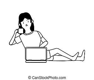 trabalhando, laptop, café, mulher, bebendo