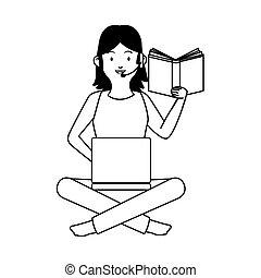 trabalhando, laptop, leitura, mulher, livro