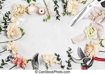 trabalhando, madeira, desktop, fundo, floricultor, branca, ferramentas