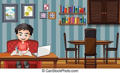 trabalhando, menino, computador, cena, lar