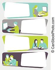 trabalhando, modelo, pessoas negócio, computer., caricatura