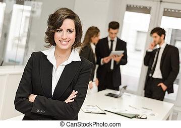 trabalhando, negócio, câmera, líder, meio ambiente, olhar