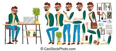 trabalhando, negócio, escriturário, personagem, escritório, worker., trabalhador, ilustração, rosto, expressions., animação, hipster, male., emoções, vendedor, set., homem, designer., caricatura, vector.