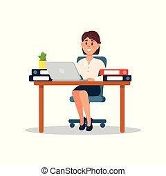 trabalhando, negócio, executiva, laptop, personagem, ilustração, vetorial, computador, escritório, caricatura
