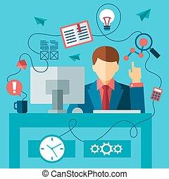 trabalhando, negócio, sentando, escrivaninha, paleto, formal, homem