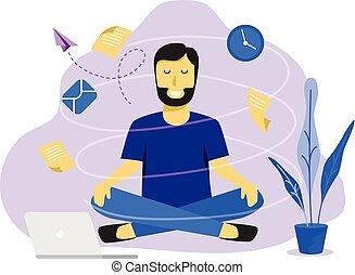 trabalhando, negócio, work., concept., ilustração, vetorial, desenho, meditação, homem