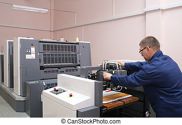 trabalhando, offset, impressora