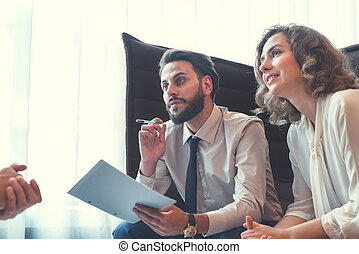 trabalhando, pessoas negócio, em, reunião