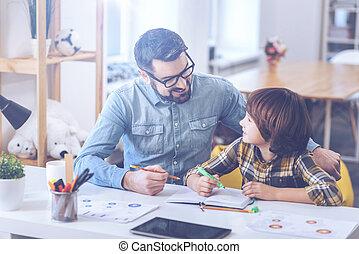 trabalhando, positivo, pai, junto, filho, projeto