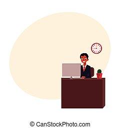 trabalhando, sentando, escritório, americano, computador, africano, homem negócios, pretas