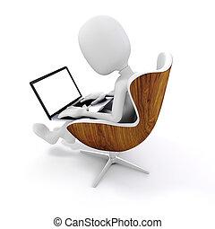 trabalhando, sentando, laptop, cadeira, 3d, homem