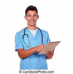 trabalhando, tabuleta, charming, pc, enfermeira, macho