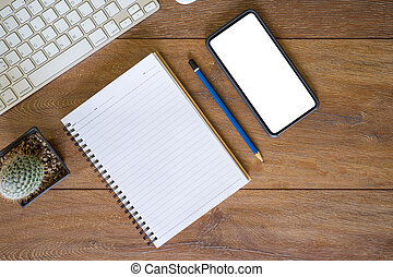 trabalhando, telefone, caderno, tabela, setting., place., desktop