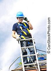 trabalhando, telhado, homem