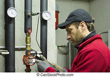 trabalhando, temperatura, poder, medidas, hidráulico, térmico