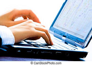 trabalhar, a, laptop