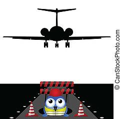 trabalhar, pista decolagem