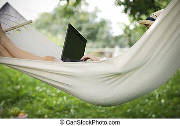 trabalhar, rede, com, laptop