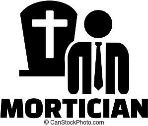 trabalho, ícone, mortician, título
