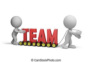 trabalho, amigável, equipe