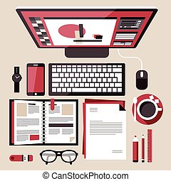 trabalho, apartamento, conceito, desenho, lugar