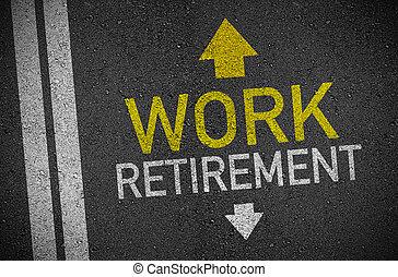 trabalho, aposentadoria, rua, asfalto