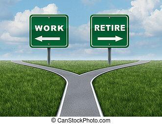 trabalho, aposente, ou