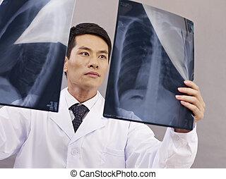 trabalho, asiático, doutor