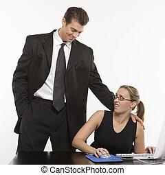trabalho, behavior., impróprio