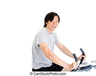 trabalho, bicicleta, asiático, homem sorridente, roupa, exercício, saída