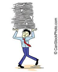 trabalho, carregar, papel, cansadas, homem