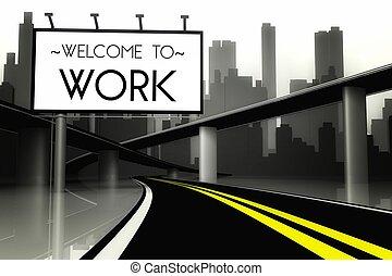 trabalho, cidade, bem-vindo, conceitual, grande